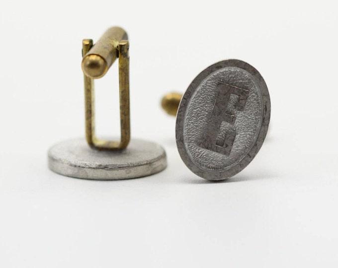 "E Cuff Links Vintage Cufflinks Letter ""E"" Initial Monogram | 1960s Groom Accessory Mens | Eric Erik Evan Ethan Ed Ernie Emma Emily Ewan 7E"