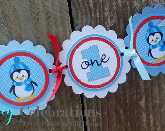Penguin High Chair Banner -Penguin Banner -Photo Prop -High Chair Bunting -1st Birthday -Small Banner -Penguin Onederland -Penguin Birthday