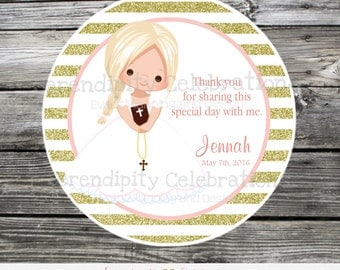 First Holy Communion, Baptism, Confirmation, Religious, Set of 12 Personalized Favor Tags, Stickers, Thank You Tag, Gold glitter, Pink