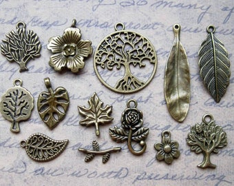 Tree and Leaf collection in Bronze Tone - C2527