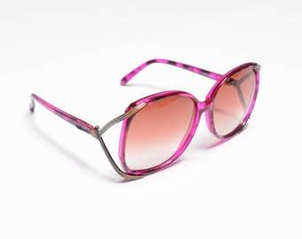 vintage 70s sunglasses purple stripe tortoise shell tortoiseshell 1970 bugeye chic amber fade lens big plastic metal frames Opti-Ray