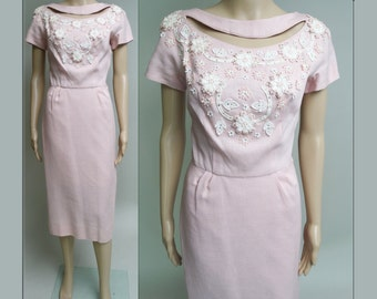 Vintage 1950s Dress//50s Dress/Pink Dress//Designer//Rhinestones//Appliques//Mod//Wiggle Dress//Party Dress//Paula Brooks Original//