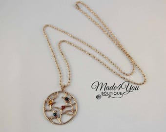 Mother's Tree Birthstone Necklace - Gold Tree Birthstone Long Necklace