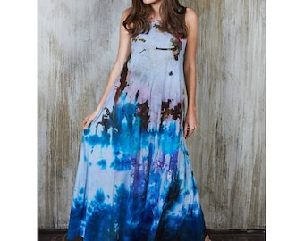 Group of 7 Inspired Dress, Hippie Plus Size Maxi Dress, Blue Tie Dye Maxi Dress, Hippie Bridesmaids Maxi Dress, Bohemian Bridesmaid Dress