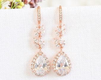 Crystal Bridal Earrings, Rose Gold Wedding Earrings, Leaf Dangle Drop Earrings, Marquise Crystal Earrings, Bridal Wedding Jewelry, CELINE