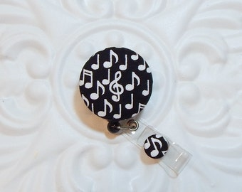 Retractable Badge Holder - Id Reel -  Fabric Covered Button - Button Badge Reel - Music Notes