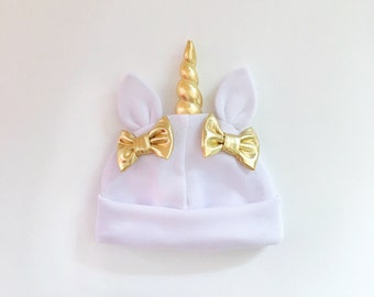 Unicorn Baby Hat Ivory