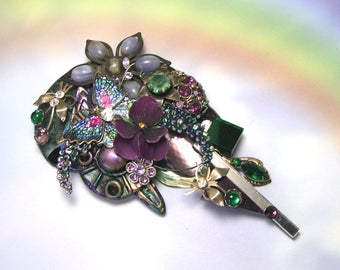 Upcycled Recycled Collage Made with Vintage Jewelry Handmade Purple Brooch, big, large, one of a kind purple brooch, butterfly, flowers