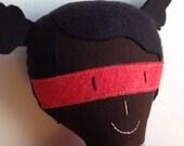 Superhero girl / black stuffed doll - ready to ship