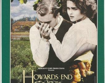 1992 Advertisement Howard's End Anthony Hopkins Celebrity Helena Bonham Carter Emma Thompson Fan Collector Collectible Wall Art Decor