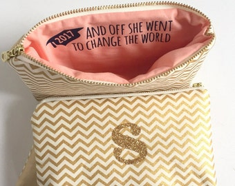 Personalized Graduation Gift for Her / Makeup Bag with Inspirational Quote & Monogram