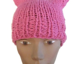 French Rose Pink Pussy Hat Crochet or Knit Handmade Women's March Pussy Hat Women Power Woman's Rights Are Human Rights