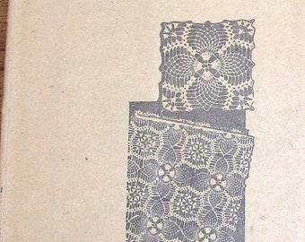 Vintage 1940s Alice Brooks Mail Order Crochet Pattern Pineapple Picot Doily Square Thread Lace Doilies to Join Mail Order Craft Pattern 7500