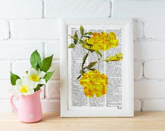 Summer Sale Book print  Bignonia flower Botanical studio print on Vintage Dictionary Book art BFL055