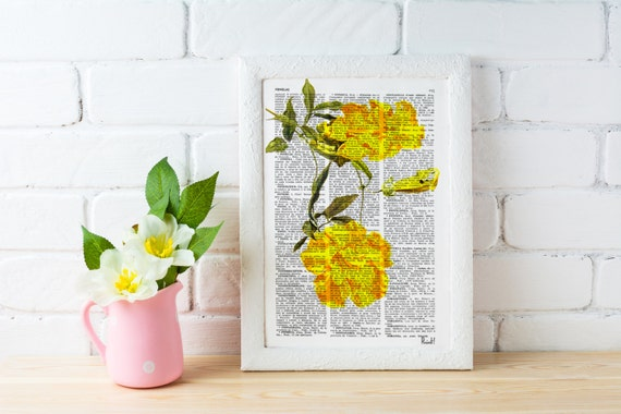 Spring Sale Book print  Bignonia flower Botanical studio print on Vintage Dictionary Book art BPBB055