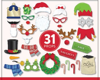 Printable Christmas Photo Booth Props | 31 Printable Props | Instant Download Christmas