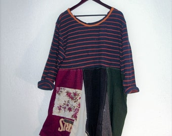 Funky Maxi Dress. Boho Plus Size Colorblock dress