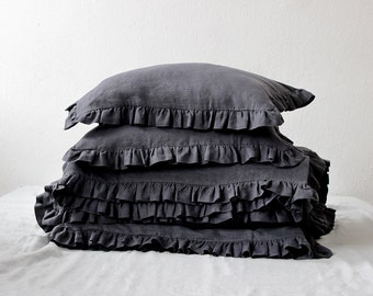 Linen pillowcase with ruffles, Custom color linen pillow covers, Ruffle shams, Soft linen bedding by Lovely Home Idea