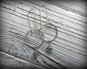 Stamped Sterling Silver and Labradorite Circle Earrings