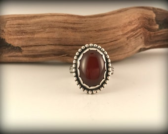 Regal Sterling Silver and Carnelian Statement Ring.  Sz. 9.5