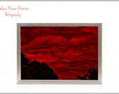 Red Sky At Morning, Nature Photography, Prints, 6x9 + More, Storm Clouds, Brooding, Dark, Beautiful, Dramatic, Home Decor, Red Wall Art