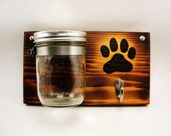 dog leash treat holder mason jar wall mount burnt paw print wood