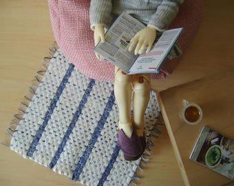 Miniature weaved rag rugs for ABJDs and Little Dolls