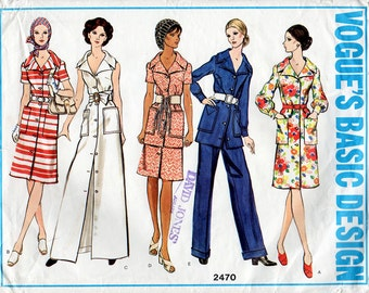 1970s Dress, Tunic, Skirt & Pants Pattern Vogue 2470 Vintage Sewing Pattern Front Buttoned Shirtdress, A-Line Skirt, Trousers Bust 36 UNCUT