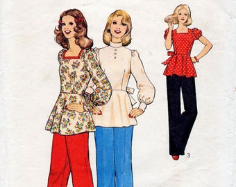 1970s Cute Boho Tunic Top & Pants Pattern Style 4372 Vintage Sewing Pattern Square Neck or Standing Collar Peplum Blouse Bust 34