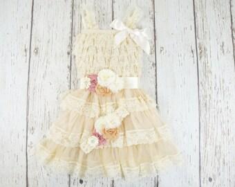 Lace Baby Dress - Ivory Baby Dress - blush flower girl dress- rustic baby dress- country girl dress- Flower Girl Dress - flower girl dress-