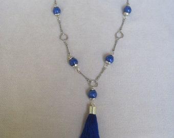 Beaded Blue Lapis Lazuli n Antique Silver n Blue Tassel Pendant Necklace