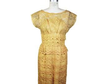 1950s Peach Lace Dress