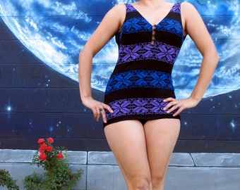 1960s pinup SWIMSUIT beach stretch playsuit  // size Medium