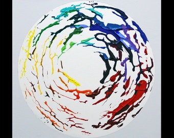 Imprint 7, Original colorful square spectrum rainbow painting pop art, NYC artist