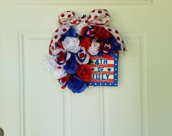 4th of July Red, White, and Blue Wreath with Roses