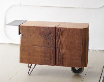 reclaimed wood coffee table - wheel koan coffee table - modern industrial - functional proun - mobile serviceable art