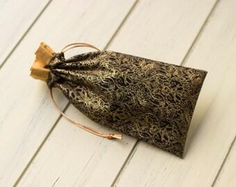 Black and Gold Floral Tarot Bag -Small, Narrow
