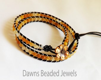 Yellow Jade wrap bracelet, wrap leather bracelet, Chan Luu bracelet, Chan Luu style, beaded bracelet, boho
