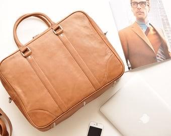 Leather messenger bag men - Laptop bag men - Mens laptop briefcase - Tan leather briefcase men - Brown leather bag men - Laptop bag 13 inch
