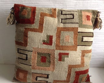 Woven Wool Pillow Cover from  Peru. Raquel's Collection.  Vintage 1960.  Hollywood Regency, Mid century modern, Danish Modern, Eames era.