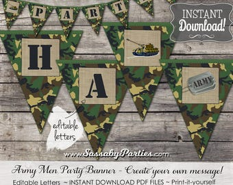 Army Men Party Banner / INSTANT DOWNLOAD / Editable & Printable / Party Decoration / Decor / Bunting / Military / Tank / Soldier / Camo