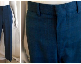 Vintage 1960s Men's Pants Cuffed Mute Plaid Dress Pants 32 x 30 Rat Pack