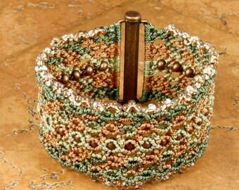 MICROMACRAME CUFF Bracelet Macrame Bracelet Gift for Her Boho Bracelet Lacy Cuff Valentine's Gift Mother's Day Gift Hand Made Micromacrame