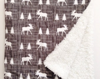Baby Blanket, Moose Blanket, Minky Blanket, Woodland Blanket, Sherpa Blanket, Gender Neutral Blanket