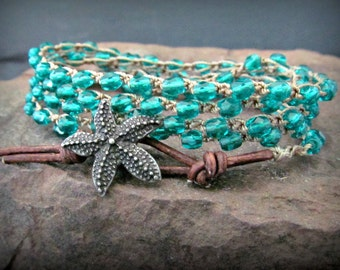 "Crochet Wrap Necklace or Bracelet, dark aqua, ""Sea Star"", Boho beach chic, Bohemian Jewelry"