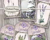 Lavender Tags printable paper craft spring summer shabby art hobby crafting scrapbooking instant download digital collage sheet - VDTAVI1500