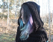 Huntress Cowl Vest with or without hood, crochet Hunger Games Katniss Everdeen custom order