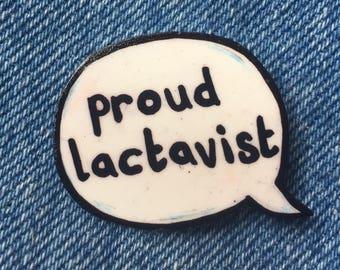 Proud lactavist speech bubble pin badge