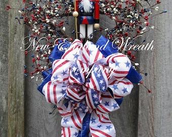 Patriotic Wreath, Fourth of July Swag, Uncle Sam Wreath, Whimsical Patriotic Wreath, Nutcracker, Americana Wreath, Designer Patriotic Swag