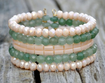 Creamy Green Beaded Cuff
